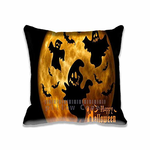 Cotton & Polyester Square Decorative Halloween Ghosts Night Orange Throw Pillow Case Cushion Cover 18