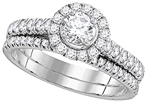 14kt White Gold Womens EGL Certified Round Diamond Solitaire Bridal Wedding Engagement Ring Set 1 Ctw