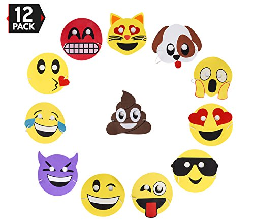 Emoji Party Masks 12 Pack, For Party Favors and Giveaways by Big Mo's - Sunglasses Face Facebook