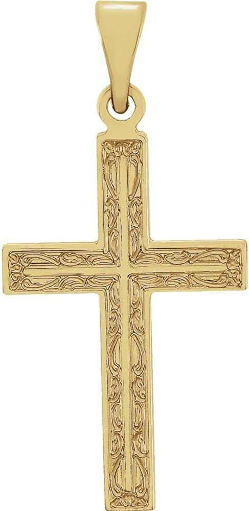 FB Jewels 14K Yellow Gold 18X12 mm Polished Cross Pendant With Design