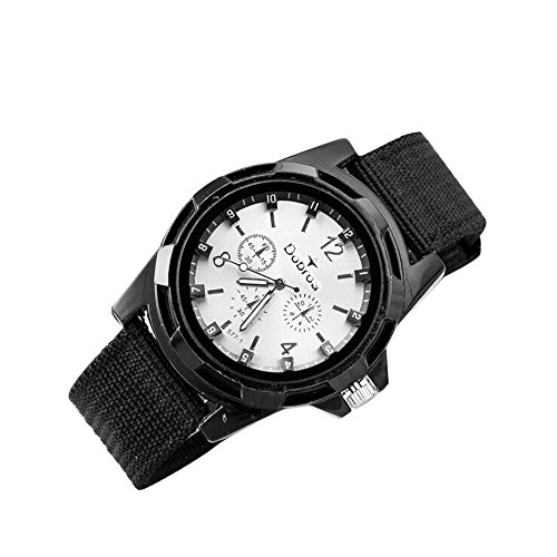 Why Choose Goddessvan Men's Fashion Sport Braided Canvas Belt Watch (Gray)