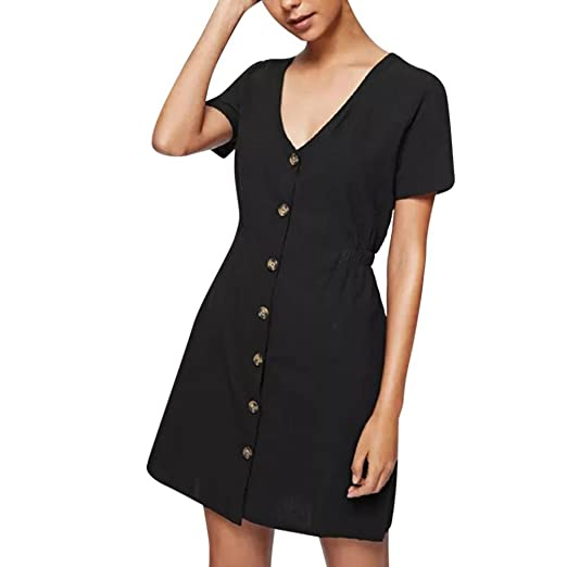 20ec596b4db Amazon.com  Clearance Litetao On Sale ! ! Womens V Neck Dresses Buttons  Casual Holiday Sundress Short Sleeve Club Dress  Clothing
