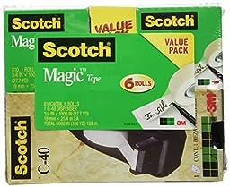 Scotch Magic Tape with C-40 Black Dispenser, 3/4 x 1000 Inches, 6 Rolls, 1 Dispenser (810C40BK)