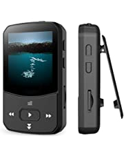 $36 Get Clip Mp3 Player with Bluetooth 4.1 16GB Lossless Sound Music Player with FM Radio Voice Recorder Video Earphones for Running, Support up to 128GB(Black)