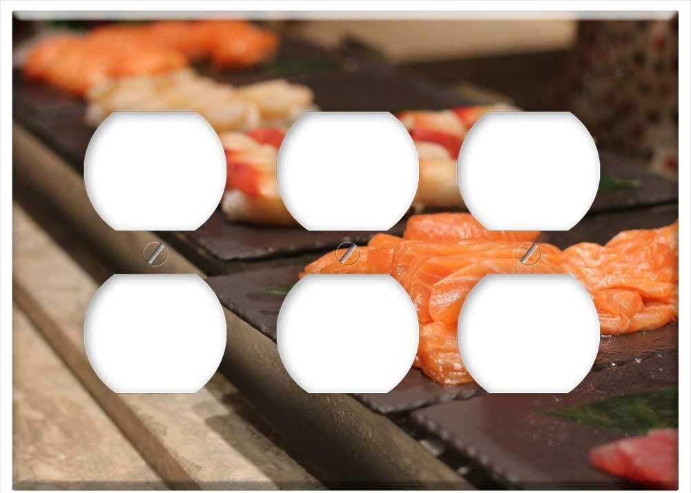 Triple Duplex Outlet Wall Plate Cover - Sashimi Food Fresh Raw Sushi Japanese Background