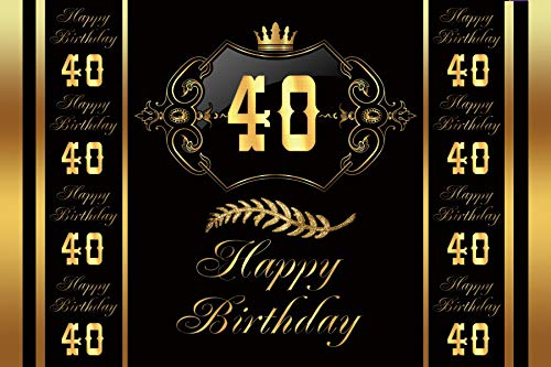 - Baocicco 5x3ft Golden Crown 40th Happy Birthday Photography Backdrop Background Gold Leaf Royal Texture Pattern Gold Frame Man Woman Gentleman Lady King Queen Birthday Party Photo Studio Props