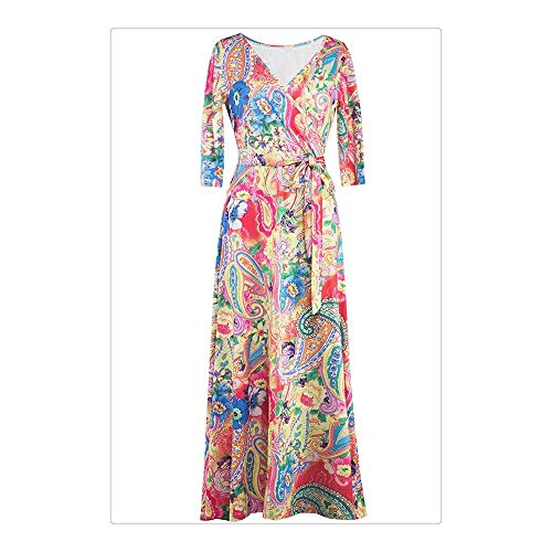 colored Longue Jupe BBethun Floral S imprim Red Manches Multi Size Color Longues ACWSH5nS