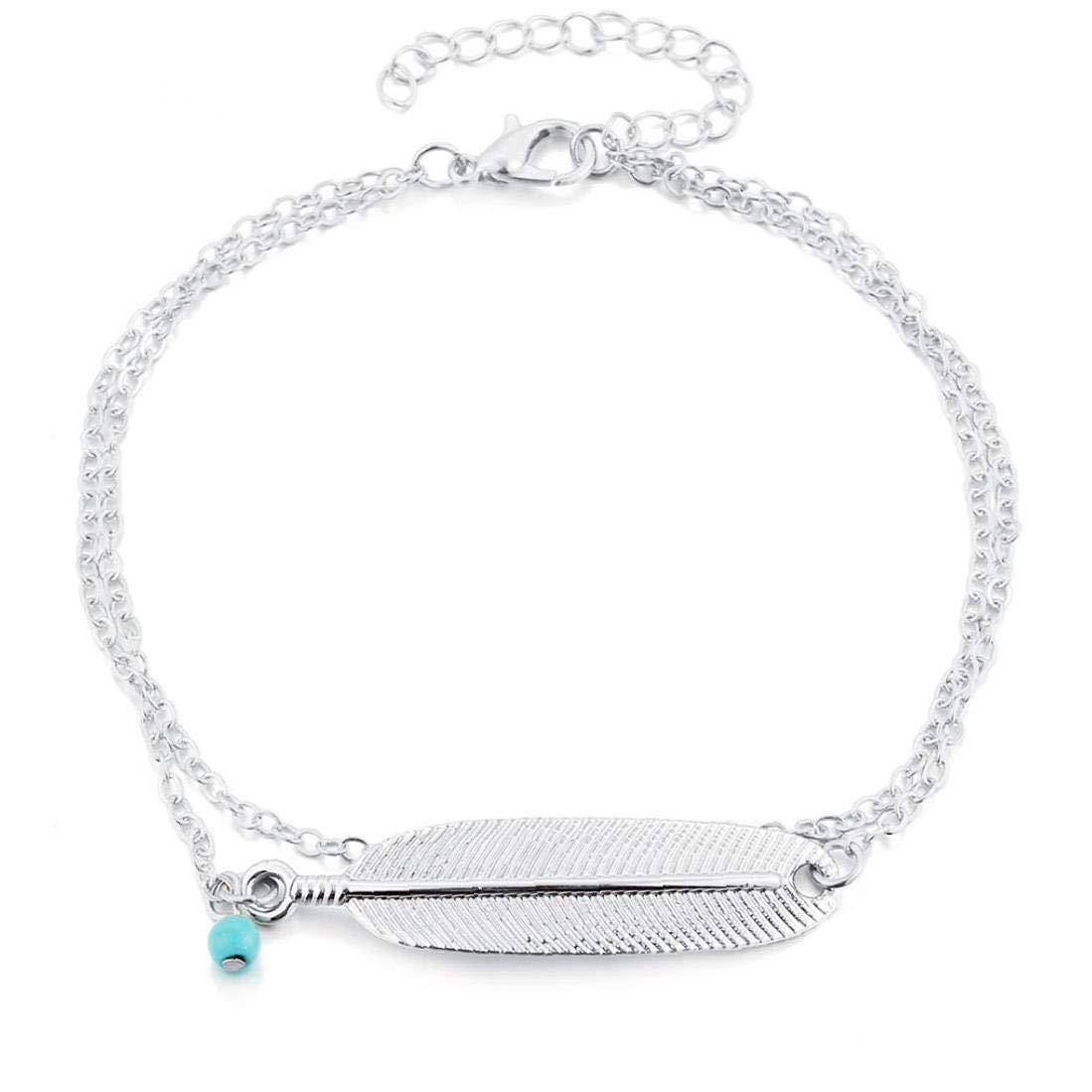 Plume Cheville Bracelet Bracelets De Cheville en Couches Perles Dainty Bijoux Pied pour Les Femmes Et Les Filles D/ét/é Barefoot Beach Anklet