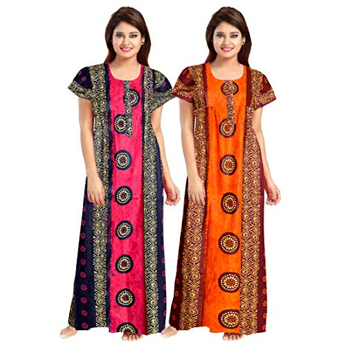 Mudrika Cotton Women Nighty Gown (Multicolor, Free Size) Combo Pack of 2 Peice