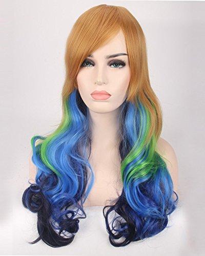 Fashion wigstyle moda colorido largo ondulado cosplay peluca marrón diseño de la Sirenita azul verde Ombre