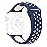 Apple Watch Series 2 Nike Sport Band, UMTELE Soft Silicone Replacement Strap with Ventilation Holes for Apple Watch Nike Plus Navy/White 42mm