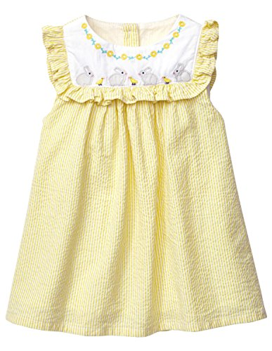 Zebra Fish Baby Girls Dresses Short Sleeve Girls Summer Cotton Dress Size 3 Yellow -