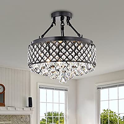 Antique Black Semi Flush Mount Crystal Chandelier 4-light Ceiling Fixture