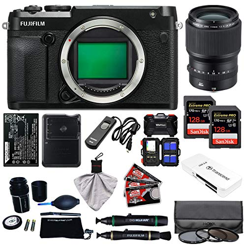 Fujifilm GFX 50R Medium Format Digital Camera Body with 110mm f|2.0 R LM WR Lens + 128GB Cards + Battery + Charger + Filters + Kit