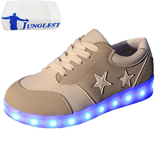 [Presente:pequeña toalla]JUNGLEST Mujer LED Zapatos Deportivos USB Re Gris