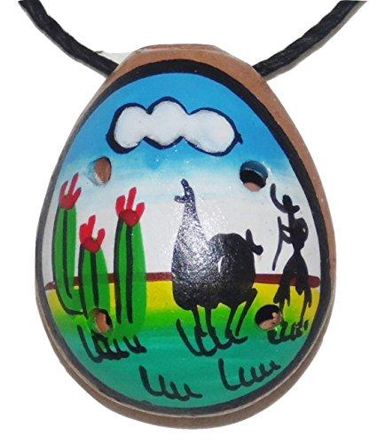 Set of 5 Handpainted Ceramic Ocarinas w/ necklace chord - 5 different - Cuzco Ceramic
