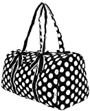 Cheap Large Quilted Polka Dots Print Duffle Bag (Black/White)