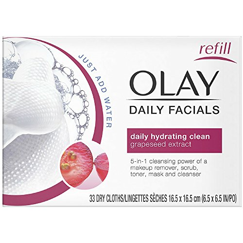 OLAY Daily Facial Hydrating Cleansing Cloths with Grapeseed Extract, Makeup Remover 33 ea (Pack of 8)