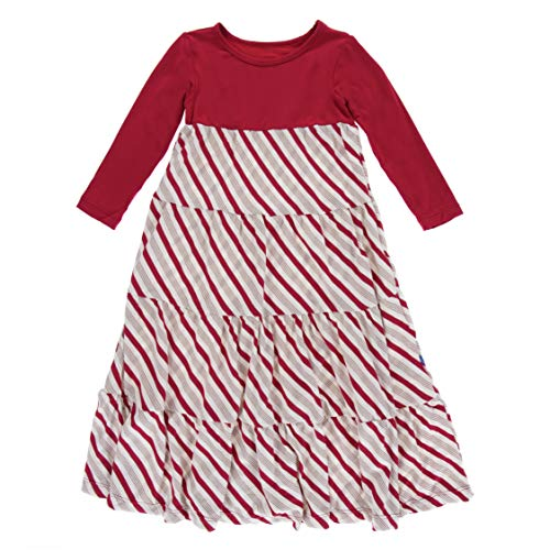 Candy Stripe Gown (Kickee Pants Little Girls Holiday Long Sleeve Tiered Dress, Rose Gold Candy Cane Stripe, 2T)