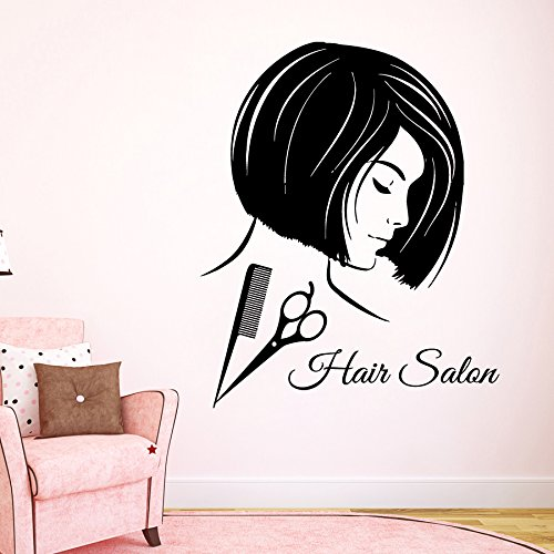 Wall Decor Vinyl Decal Sticker Words Woman Model Girl Hair Salon Scissors Comb Hair Stylist Beauty Salon Bedroom Living Room Home Interior Design Kg910