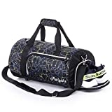 Waterproof Sports Gym Bag with Shoes Compartment Travel Duffel Bag (Dynamic Black, Small)