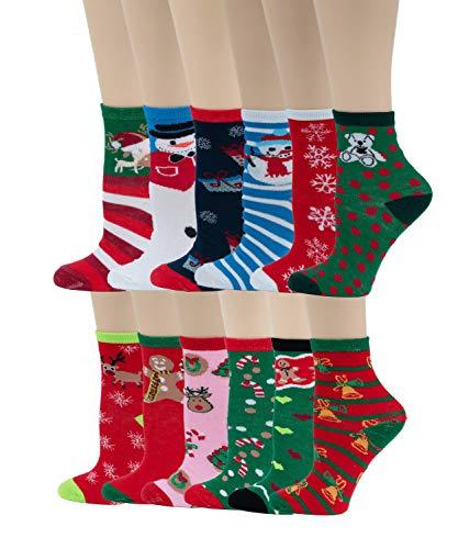 12 Pairs Pack Kids Girls Colorful Creative Fun Novelty Design Crew Socks (6-8, Christmas)]()