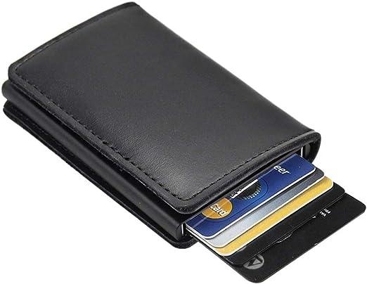 Dlife Tarjetero RFID Cartera Crédito Cartera de Aleación de Aluminio Multiuso Bolsillos Premium Cuero Exterior Automáticas Desplegables para Hombres