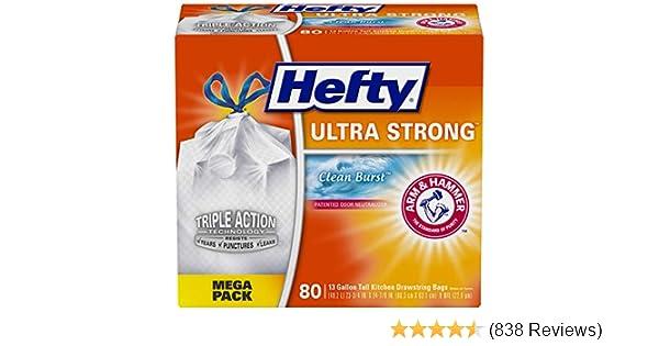 Hefty Ultra Strong Tall Kitchen Trash Bags-Lavender/&Sweet Vanilla,13Gallon,110Ct