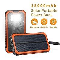 Soluser Solar Ladegerät Powerbank, 15000mAh Externe Akku Handy Power Bank Outdoor Reiseutensilien mit 6LED Taschenlampe für iPhone, iPad, Samsung Galaxy und andere Smartphones