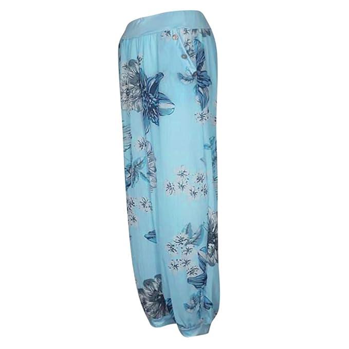 Cinnamou Pantalones Casuales de impresión de Las Mujeres Estampado Floral Pantalones de Pierna Ancha para Mujer Pantalones de Harem Sueltos con Botones de ...