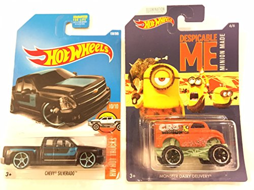Hot Wheels 2017 HW Hot Trucks Chevy Silverado 159/365, Black & BONUS: Hot Wheels Despicable Me Minion Made Movie MONSTER DAIRY DELIVERY
