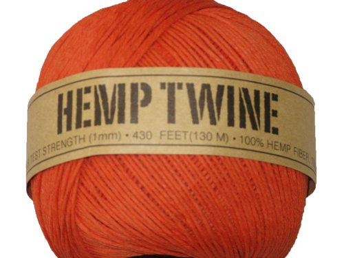 Hemp Twine Orange 20# 1mm 430Ft 130m (Orange Hemp)