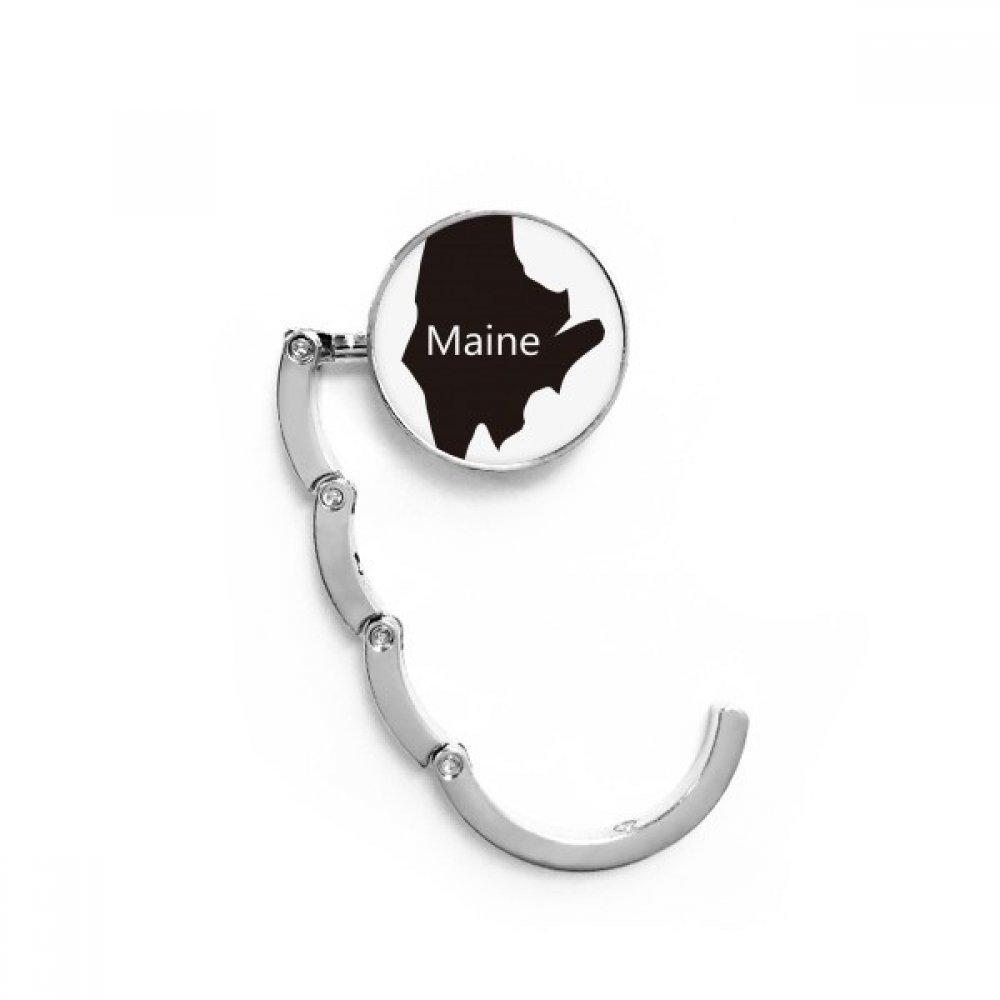Maine America USA Map Silhouette Table Hook Folding Bag Desk Hanger Foldable Holder
