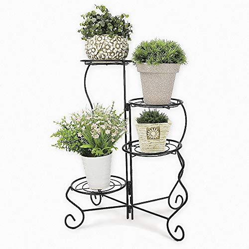 Homes Garden 4-Tier Metal Plant Stand, No Assembly Required, Corner Shelf Flower Pot Holder Foldable for Indoor & Outdoor Home Decor by Garden 11 in. x 9 in. x 27 in. #G-3955