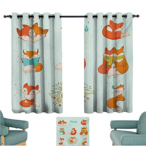 DONEECKL Novel Curtains Fox Lovely Fox Characters Sleeping Reading Romantic Couple Nature Collection Kids Comic Blackout Draperies for Bedroom Living Room W72 xL45 Multicolor