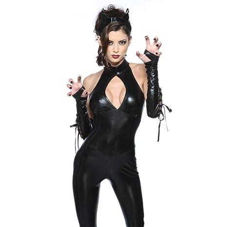 c886f23a94a  -MLNR Halloween Sexy Disfraz De Gato Mujer Mono Sexy Gato Negro Sra.Body
