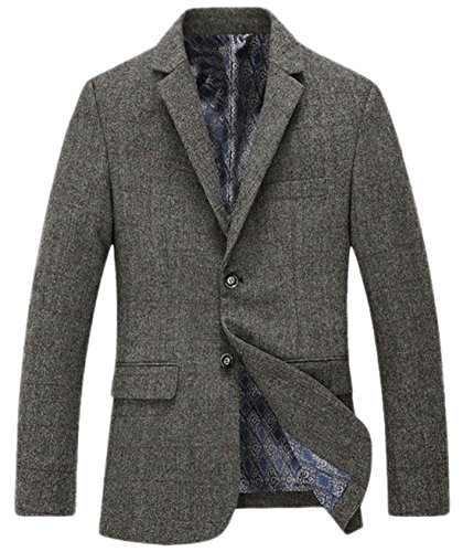 Chouyatou Men's Classic Plaid Two-Button Wool Blend Tailored Suit Separate Coat (Large, (Plaid Wool Blend Blazer)