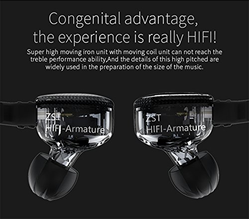 Yinyoo KZ ZST Hybrid Banlance Armature with Dynamic in-Ear Earphone 1BA+1DD HiFi Headset (ZST mic)