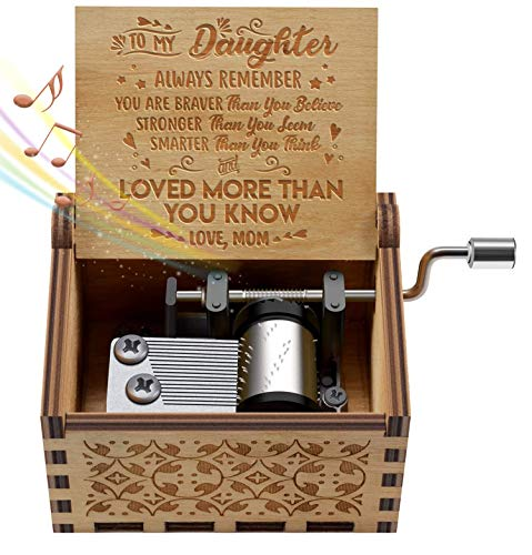 Engraved Music Box - You are My Sunshine, Gift for Daughter from Mom - You Are Stronger Than You Seem, Smarter Than You Think - From Mom