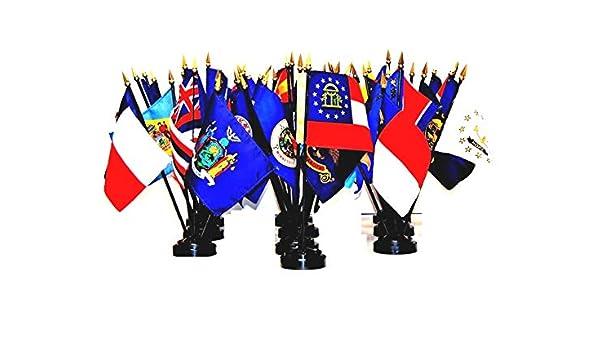 "WYOMING 4X6/"" TABLE TOP FLAG W// BASE NEW US STATE DESKTOP HANDHELD STICK FLAG"