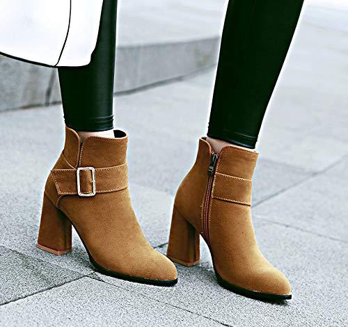 Zip Coupe Brun Aisun Bottines Mode Femme Pointue Avec Bande qtwZ0t