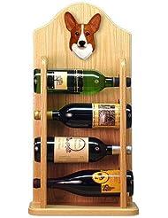 RED Pembroke Welsh Corgi Wine Rack 4 Bottle Design In Light Oak By Michael Park
