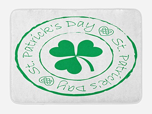 St. Patrick's Day Bath Mat by Ambesonne, Stamp Like Design Greetings for Party March 17 Lucky Shamrock Print, Plush Bathroom Decor Mat with Non Slip Backing, 29.5 W X 17.5 W Inches, White and Green