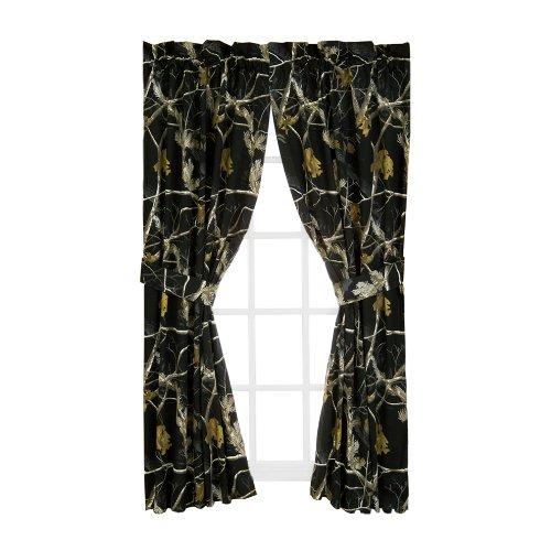 Realtree AP Black Rod Pocket Drapes, 2 Panels, 2 Tie-backs, 84 Inch