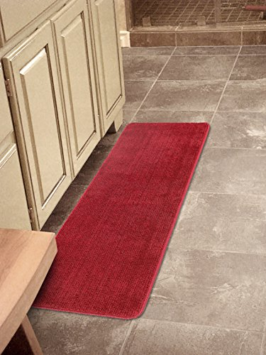 Edge Red Contemporary Rug - Ottomanson Softy Collection Solid Non-Slip Kitchen/Bath Rug, 20