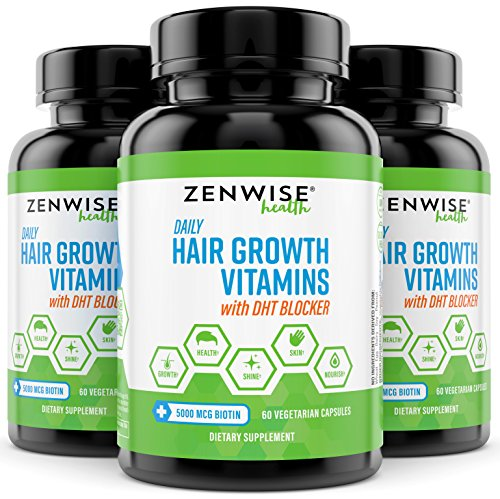 Hair Growth Vitamins Supplement - 5000 mcg Biotin & DHT Blocker Hair Loss Treatment for Men & Women - 1 Month Supply With Vitamin A & E to Stimulate Faster Regrowth + Care for Damaged Hair - 60 Pills by Zenwise Health (Image #3)
