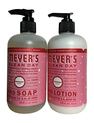 Mrs Meyer's Clean Day Peppermint Hand Soap (12.5 ounces) and Hand Lotion (12 ounces) (Hand Soap Orange Lotion)