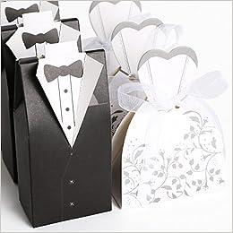 Cajas para almendras confitadas para bodas, 50 unidades, diseño de novio y novia, color blanco y negro: Amazon.es: Libros