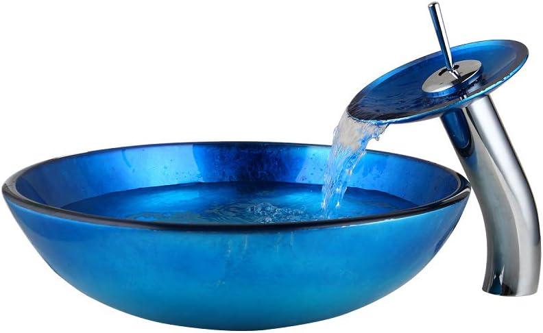 OUBONI Blue Bathroom Vessel Sink Hand Painting Vanity Basin Waterfall Faucet Tap Combo Glass Vessel Sink Faucet /& Pop up Drain
