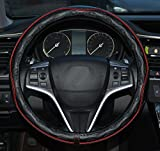Automotive : Rueesh Microfiber Leather Car Steering Wheel Cover, Soft Padding, Durable, No Smell, Universal 15 Inch Steering Cover, Anti-slip Embossing Pattern B, Black with Red Line